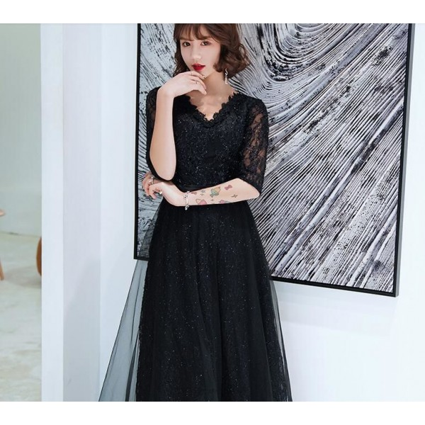 Fashion Floor-length Black Semi Formal Dress Lace V-neck Half Sleevs Invisible Zipper Prom Dress With Sequines New Arrival