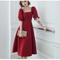 A-line Medium-length Red Prom Dress Square Neck Zipper Back Fashion Short Sleeves Homecoming Dress With Beading