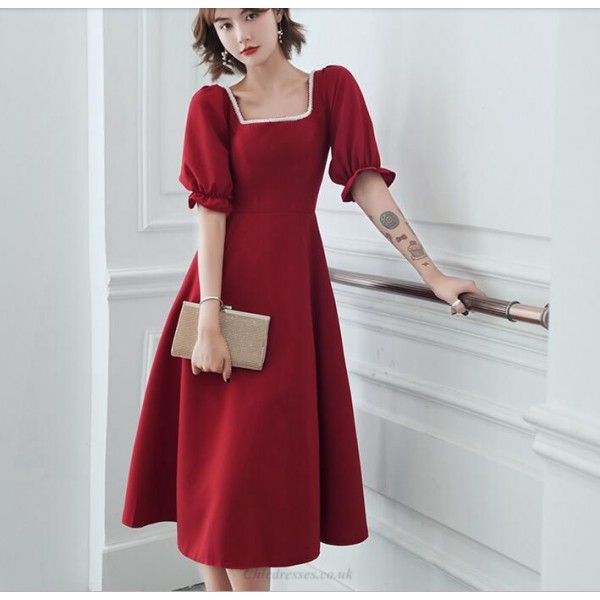 A-line Medium-length Red Prom Dress Square Neck Zipper Back Fashion Short Sleeves Homecoming Dress With Beading New Arrival