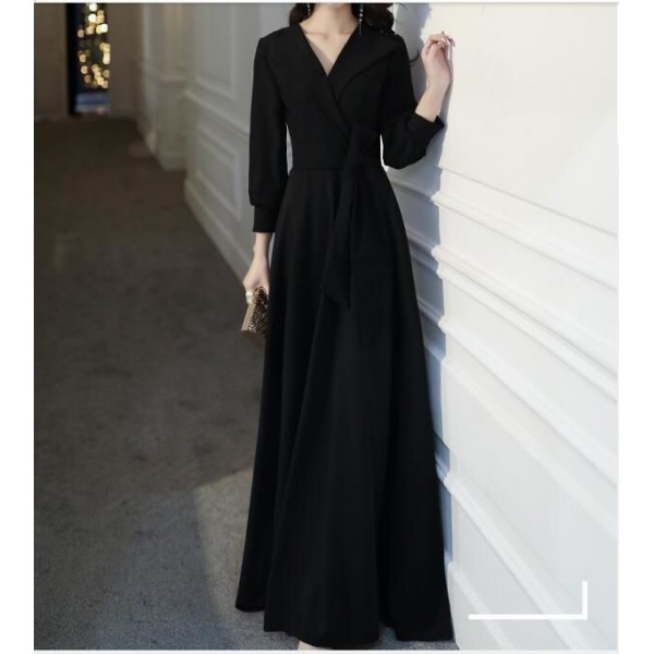 Fashion Floor-length Black Prom Dress With Sleeves V-neck Invisible Zipper Back Evening Dress New Arrival