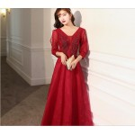 A-line Floor-length Red Tulle Evening Dress Fashion neckline Lace-up Prom Dress With Sleeves/Sequines New Arrival