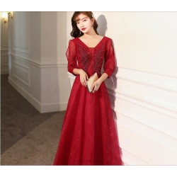 A Line Floor Length Red Tulle Evening Dress Fashion Neckline Lace Up Prom Dress With Sleeves Sequines