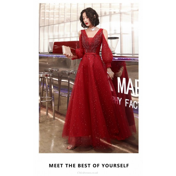 Contemporary A-line Floor-length Red Tulle Evening Dress Fashion Neckline Lace-up Prom Dress With Sleeves/Sequines New Arrival