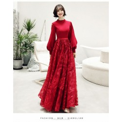 Fashion Floor-length Burgundy Satin Tulle Evening Dress Low Stand Collar Lace-up Exquisite Embroidery Prom Dress With Sleeves/Bowknot