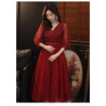 A-line Medium-length Burgundy Tulle Evening Dress V-neck Lace-up Prom Dress With Sleeves/Appliques/Sequines New Arrival