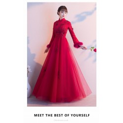 A-line Floor-length Red Evening Dress Fashion Stand Collar Zipper Back Prom Dress With Sleeves/Appliques