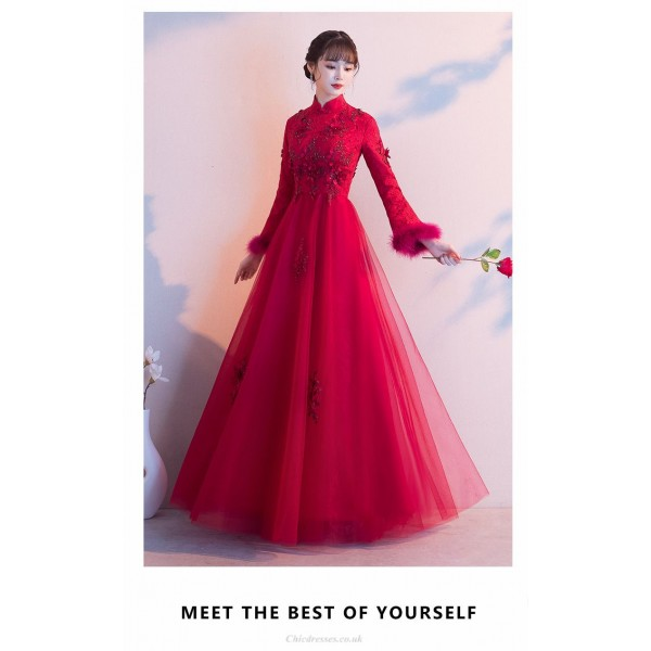A-line Floor-length Red Evening Dress Fashion Stand Collar Zipper Back Prom Dress With Sleeves/Appliques New Arrival