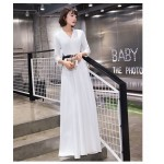 Elegant Floor-length White Chiffon Evening Dress Fashion V-neck Zipper Back Prom Dress With Sleeves New Arrival