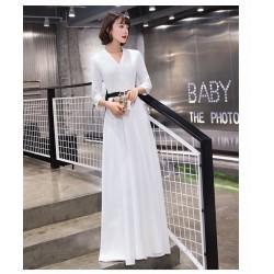 Elegant Floor Length White Chiffon Evening Dress Fashion V Neck Zipper Back Prom Dress With Sleeves