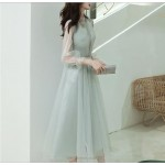 A-line Medium-length Green Prom Dress With Sleeves Fashion High-neck Invisible Zipper Back Evening Dress New Arrival