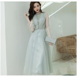 A Line Medium Length Green Prom Dress With Sleeves Fashion High Neck Invisible Zipper Back Evening Dress