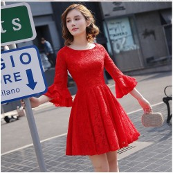 Shor/Mini A-line Red Lace Prom Dress With Sleeves Crew-neck Invisible Party Dress