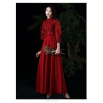 Fashion Floor-length Burgundy Evening Dress Retro Standing Collar Classic Button Invisible Zipper Back Prom Dress With Sleeves/Sequines New Arrival