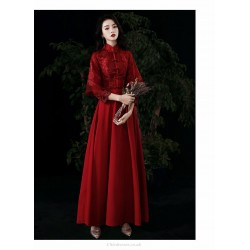 Fashion Floor Length Burgundy Evening Dress Retro Standing Collar Classic Button Invisible Zipper Back Prom Dress With Sleeves Sequines