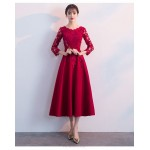 A-line Medium-length Burgundy Lace Chiffon Prom Dress With Sleeves Crew-neck Invisible Zipper Back Evening Dress New Arrival