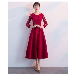 A Line Medium Length Burgundy Lace Chiffon Prom Dress With Sleeves Crew Neck Invisible Zipper Back Evening Dress