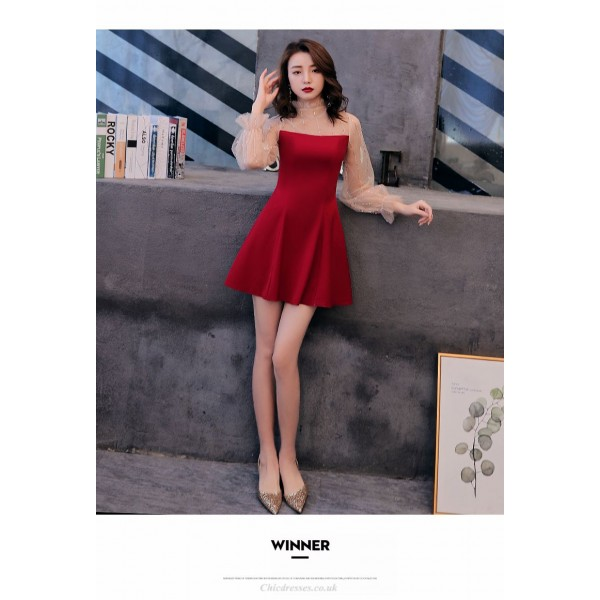 Short/Mini Fashion Stand Collar Invisible Zipper Back Prom Dress With Sleeves New Arrival