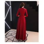 Noble Temperament Floor-length Prom Dress With Sleeves V-neck Invisible Zipper Back Exquisite Embroidery Evening Dress New Arrival