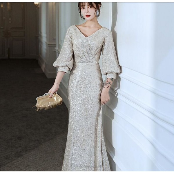Brilliant Mermaid/Trumpet Sequined Sparkle & Shine Evening Dress V-neck Lace-up Prom Dress With Sleeves/Sequines New Arrival