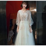 Elegant Floor-length Champagne Evening Dress V-neck Lace-up Prom Dress With Sleeves/Appliques