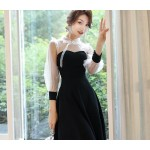 Fashion Medium-length Black Chiffon Lace Prom Dress With Sleeves Stand Collar Hollow Back Zipper Party Dress New Arrival