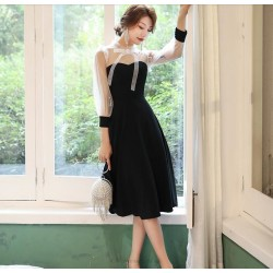 Fashion Medium-length Black Chiffon Lace Prom Dress With Sleeves Stand Collar Hollow Back Zipper Party Dress