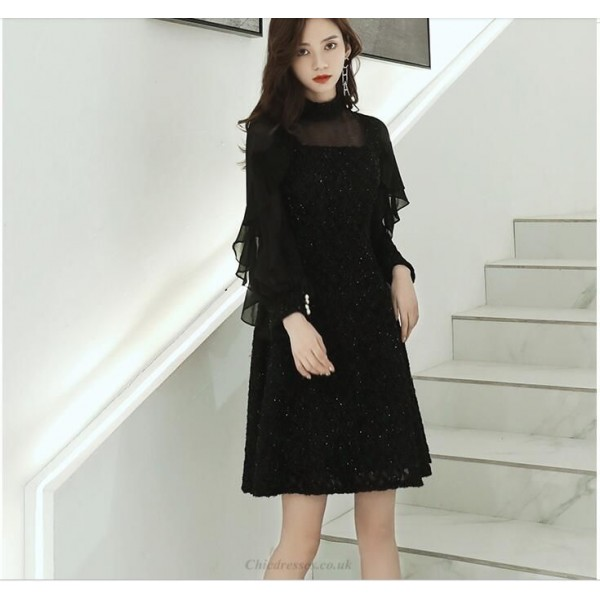 Fashion Knee-length Little Black Dress Stand Collar Invisible Zipper Back Prom Dress Sleeves/Sequines New Arrival