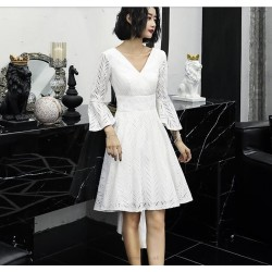 Elegant Front Short Rear Length V-neck White Lace Prom Dress With Sleeves