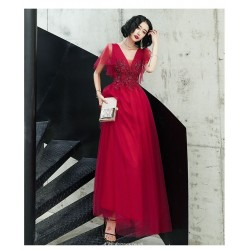 A Line Floor Length Burgundy Tulle Evening Dress V Neck Lace Up Prom Dress With Sequines
