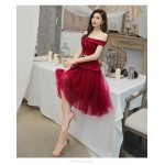 Fashion Knee-length Burgundy Satin Tulle Evening Dress Off The Shoulder Zipper Back Prom Dress With Sashes New Arrival