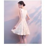 Elegant Knee-length Champagne Prom Dress Little V-neck Zipper Back Party Dress New Arrival