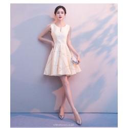 Elegant Knee Length Champagne Prom Dress Little V Neck Zipper Back Party Dress