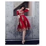Fashion Medium-length Exquisite Embroidery Burgundy Prom Dress Off The Shoulder Spaghetti Straps Zipper Back Half Sleeve Party Dress New Arrival