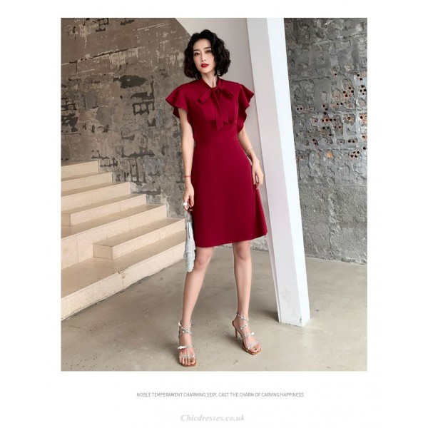 Sheath/Column Knee-length Burgundy Chiffon Evening Dress Zipper Back Bowknot Neckling Prom Dress New Arrival