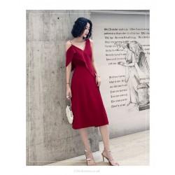 Fashion Medium Length Burgundy Sain Evening Dress V Neck Zipper Back Chic Shoulders Prom Dress