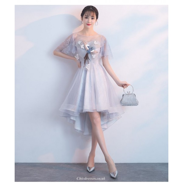 Fashion Front Short Rear Length Grey Lace Tulle Bridesmaid Dress Crew-neck Zipper Back Exquisite Embroidery Prom Dress New Arrival