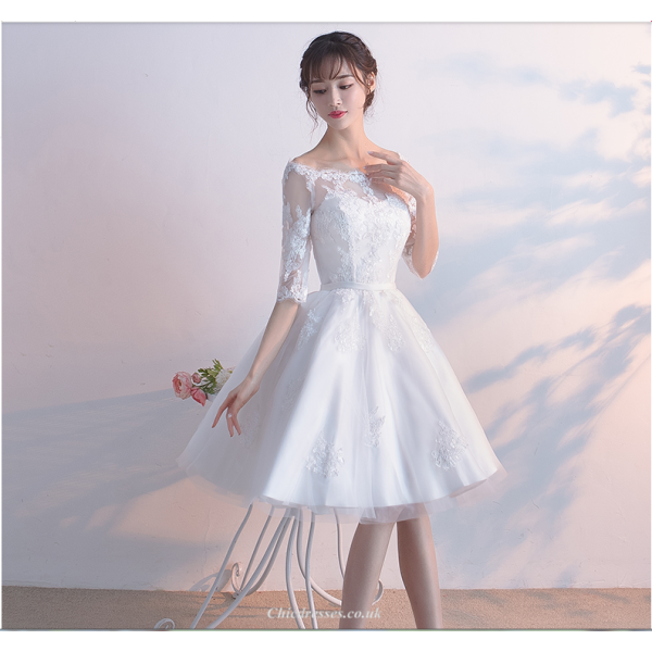 Elegant Knee-length White Lace Tulle Prom Dress Off The Shoulder Lace-up Half Sleeve Party Dress New Arrival