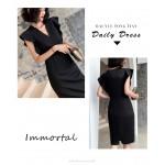 Fashion Medium-length Black Chiffon Evening Dress V-neck Zipper Back Prom Dress New Arrival