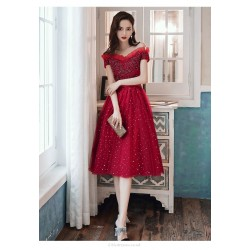 Brilliant Medium Length Burgundy Tulle Evening Dress Off The Shoulder Lace Up Prom Dress With Sequines