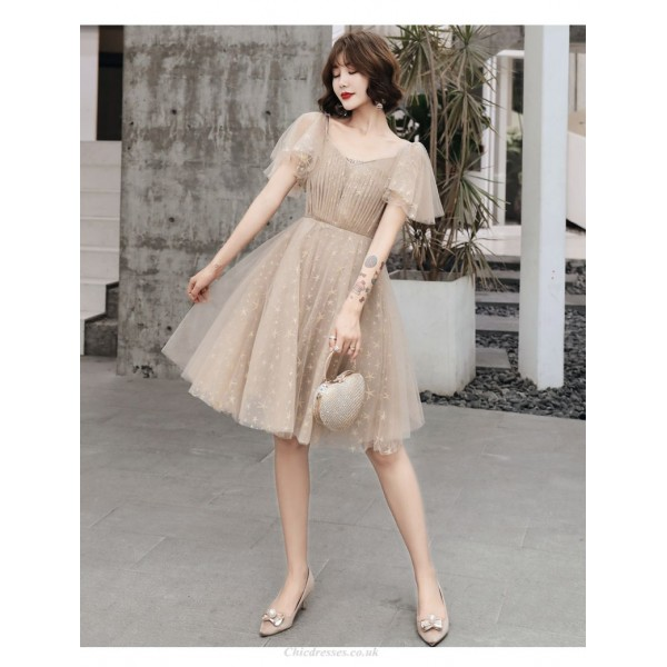 A-line Knee-length Champagne Tulle Party Dress Chic V-neck Zipper Back Prom Dress New Arrival