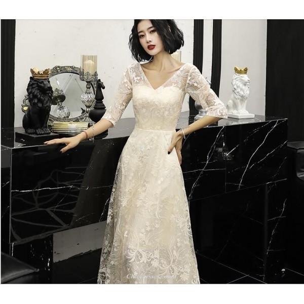 Elegant Floor-length Light Champagne Lace Evening Dress V-neck Invisible Half Sleeve Prom Dress New Arrival