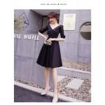 A-line Knee-length Black Chiffon Prom Dress Fashion Lapel Zipper Back Half Sleeve Party Dress New Arrival