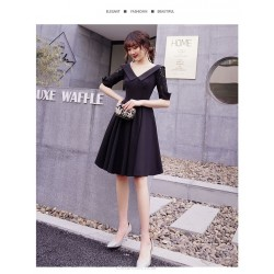A-line Knee-length Black Chiffon Prom Dress Fashion Lapel Zipper Back Half Sleeve Party Dress