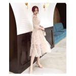 Fashion Medium-length Pink Evening Dress Crew-neck Invisible Zipper Back Prom Dress With Sleeve New Arrival