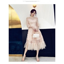 Fashion Medium-length Pink Evening Dress Crew-neck Invisible Zipper Back Prom Dress With Sleeve
