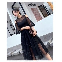 Noble Temperment Medium Length Black Tulle Evening Dress Crew Neck Invisible Zipper Back Half Sleeve Prom Dress