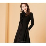 Fashion Medium-length Black Prom Dress With Pockets Stand Collar Long Sleeves Front Middle Single Breasted Evening Dress New Arrival