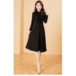 Fashion Medium Length Black Prom Dress With Pockets Stand Collar Long Sleeves Front Middle Single Breasted Evening Dress