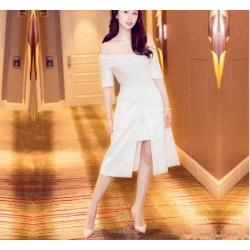 Elegant Knee Length White Satin Prom Dress With Pockets Off The Shoulder Front Slit Party Dress