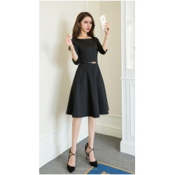A Line Knee Length Black Evening Dress Crew Neck 3 4 Sleeves Zipper Back Prom Dress With Pockets